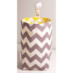Wastebasket car trash can collapsible use anywhere crafting thread catcher laminated waterproof WASTIE gray and white chevron with yellow