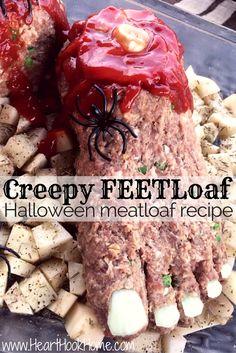 Creepy FEETloaf :: Halloween Recipe http://hearthookhome.com/creepy-feetloaf-halloween-meatloaf-recipe/
