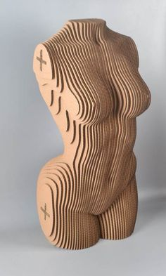 Sliced Woman Torso - Cardboard Sculpture, DIY Papercraft, paper art,Home Decor, Corrugated board ,DIY Gift Cardboard Sculpture, Cardboard Furniture, Cardboard Crafts, Wood Sculpture, Diy Art, Wood Art, Metal Art, 3d Cuts, 3d Puzzel