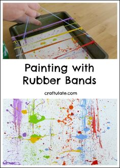 Painting with Rubber Bands – fun process art for kids! Have your kids tried painting with rubber bands? This messy process art activity is a lot of fun! The post Painting with Rubber Bands – fun process art for kids! appeared first on Crafts. Kids Crafts, Preschool Crafts, Process Art Preschool, Preschool Art Projects, Easy Crafts, Preschool Art Lessons, Arts And Crafts For Adults, Art Lessons For Kids, Preschool Science