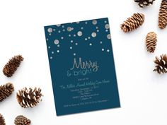 Printable Silver Glitter Christmas Party invitation/ Holiday open house invitation/ Holiday party invitation/blue silver Christmas invite