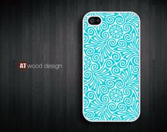 special phone case iphone 4 case iphone 4s case iphone 4 cover blue flower graphic design printing. $13.99, via Etsy.