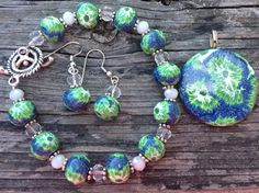 Summer Colors Navy Blue Kelly Green Handmade Polymer Clay Jewelry Set Bracelet Earrings Pendant  by DeannasEtsyShop on Etsy