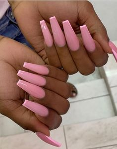 36 Pretty Acrylic Pink Coffin Nails Design For Long Coffin Nails Makeup – – Long Acrylic Nails Summer Acrylic Nails, Best Acrylic Nails, Pastel Nails, Aycrlic Nails, Hair And Nails, Stylish Nails, Trendy Nails, Coffin Nails Long, Pink Coffin