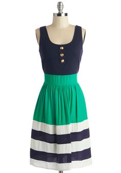 Schooner Said Than Done Dress in Green. Sail the vast and salty sea in the yacht-perfect style of this adorable A-line dress! #multi #modcloth
