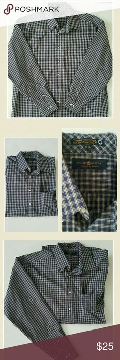 Tommy Hilfiger dress shirt Mens Tommy Hilfiger button up collar dress shirt.  Colors navy, green and white plaid.  Size xl or 17 34-35 as shown in pic. Tommy Hilfiger Shirts Dress Shirts