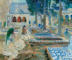 The Athenaeum - Women in the el-Kettar Cemetry, Algiers (Léon Cauvy - ) Erreur dans le titre pour le lieu, il s'agit sans aucun doute du Cimetière de Sidi-M'hamed à Alger et non d'El-Kettar.