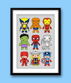 Super Hero wall art Marvel nursery Spiderman Captain by MiniHeroes, £13.99