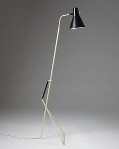 Svend Aage Holm Sørensen; Enameled Metal and Plastic Floor Lamp for ASEA, 1950s.