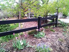 This particular picket fence is absolutely an exceptional style principle. Front Yard Fence, Farm Fence, Post And Rail Fence, Ranch Fencing, Horizontal Fence, Backyard, Patio, Garden Bridge, New Homes