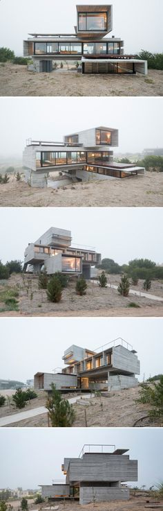 Container House - Architect Luciano Kruk designs a house made of three stacked forms of rough unfinished concrete overlooking a golf course in Argentina #containerhome #shippingcontainer Who Else Wants Simple Step-By-Step Plans To Design And Build A Container Home From Scratch?