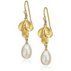 Nina Fresh Water Pearl Leaf Drop Earrings ($21) ❤ liked on Polyvore featuring jewelry, earrings, cultured pearl earrings, nina earrings, freshwater pearl earrings, flower jewelry and fresh water pearl earrings