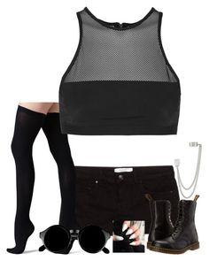 Looking Like Lynn Gunn by bloodyvampire-188 on Polyvore featuring polyvore, fashion, style, T By Alexander Wang, MANGO, Commando, Dr. Martens, French Connection, grunge, goth and lynngunn