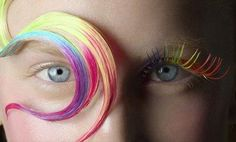 Rainbow hair color and eye lashes- Organic Color Systems Carnival Fashion, Carnival Makeup, Carnival Costumes, Organic Colour Systems, Rainbow Hair, Rainbow Pastel, Rainbow Colors, Hair Today, Eye Color