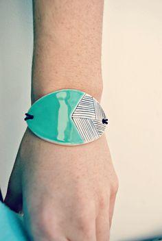 Ceramic bracelet, geometric bracelet, ceramic jewellery, turquoise bracelet, lime green jewelry, statement bracelet