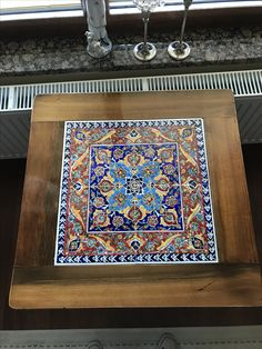 Painted Ceramic Plates, Ceramic Table, Ceramic Painting, Ceramic Art, Tile Art, Mosaic Tiles, Steel Furniture, Painted Furniture, Tiled Coffee Table