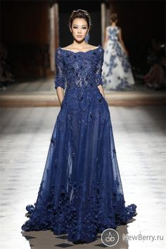 Elie Saab Dresses Party Evening Gowns Sleeves Scoop Appliques Prom Dresses 2105 Nave Blue Celebrity Formal Dresses Evening Wear Navy Blue Evening Dress Purple Evening Dress From Click_me, $229.07| Dhgate.Com