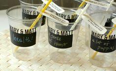 chalkboard vinyl party cups - what a fun idea!