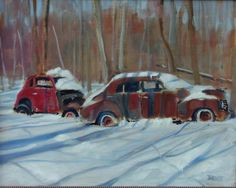 Bumper to Bumper. Oil painting by Peter Barnett.