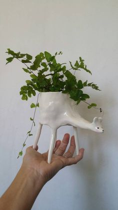 Gal Cockatoo-Collins - Ceramic Deer Planter / indoor planter / succulent planter
