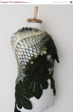 BLACK FRIDAY SALE Green Leaf Bridal Shawl Ready by knittingshop, $52.20