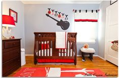 baby boy red nursery. rcok and roll themed nursery. music themed boy nursery. red, black, and grey nursery