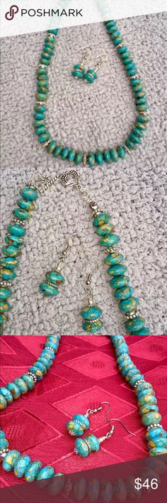 """Mosaic Turquoise Necklace with earrings Set Beautiful Handmade Mosaic Turquoise Necklace and Earrings Set. Necklace is about 19"""" long and Earrings are about 1"""". This is a necklace you will love to wear for casual dinner out or to a formal dinner party Jewelry Necklaces"""
