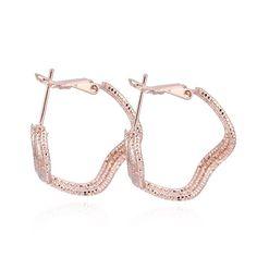 Fashion Irregular Shape Hoop Earring Rose Gold Plated Copper Earrings