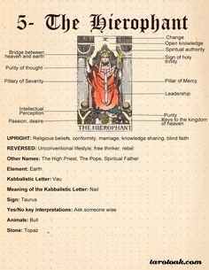The Hierophant Tarot Card Meaning Tarot Interpretation, Tarot Significado, Tarot Cards For Beginners, Tarot Card Spreads, The Hierophant, Tarot Astrology, Tarot Major Arcana, Tarot Card Meanings, Tarot Decks