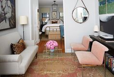 Can't decide what we love most! From the sleek settee, blush pink velvet accent chairs to the antique brass bed -it's all SO good.  ✨Check out the link in our profile to see how #TheStudioatOKL magically transformed this small Soho apartment AND shop these exact pieces.✨ [: @manufotomanu] #makeover