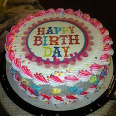 A festive happy birthday cake
