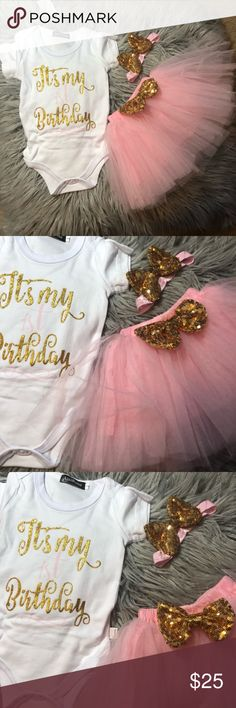 Baby's first birthday 3 piece set Baby girl first birthday 3 piece set . All 3 pieces included Matching Sets