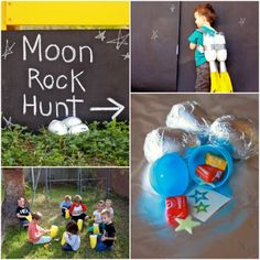 Rocket Party Game: Moon Rock Hunt! Fill easter eggs and wrap in foil!