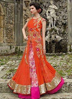 Orange Ankle Length Anarkali Suit