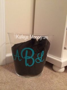 Personalized Acrylic Trash Can Waste Basket Monogrammed Trash Can Vinyl Monogram Preppy Kaileysmonogram Kaileys Monogram Housewarming Gift by KaileysMonogramShop on Etsy