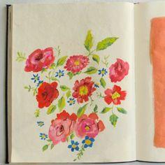 Danielle Kroll is a designer and illustrator living in Philadelphia, PA. She attended Tyler School of Art and is currently an in-house designer for Anthropologie. Sketchbook Inspiration, Art Sketchbook, Sketch Journal, Handmade Books, Bookbinding, Botanical Prints, Watercolor Art, Watercolor Flowers, Flower Art