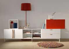 Tetris in white and red with leather handles.