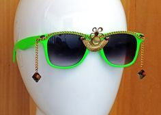 Lime Green and Gold Chain Sunglasses, Embellished Decorated Sunglasses, Burning Man Festival Sunglasses, Upcycled Vintage Jewelry by EvoSpiritArts on Etsy