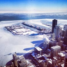 We had to share this photo! Our concierge, Romeo, took this while at the John Hancock Observatory yesterday. Chicago looks beautiful covered in white.