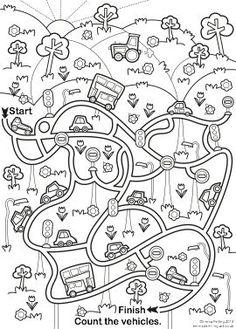 Vehicles i material de transport Maze Worksheet, Mazes For Kids, Transportation Theme, Hidden Pictures, Kindergarten Worksheets, Colouring Pages, Pre School, Educational Toys, Preschool Activities