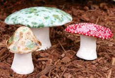 Three hand crafted ceramic toadstools - T87 by FabulousFungi on Etsy