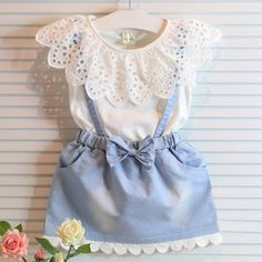 Jeans & Lace Fake Two-Piece Baby Girl Summer Dress Baby Girl Dresses baby dress Fake girl Jeans Lace Piece spon Summer Twopiece Girls Summer Outfits, Dresses Kids Girl, Baby Outfits, Cute Dresses, Summer Girls, Summer Clothes, Denim Dresses, Summer Baby, Dresses 2016