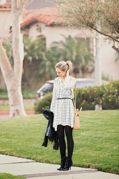 Blue Eyed Finch in Pleione Ivory & Charcoal Plaid Tunic. Available @nordstrom.