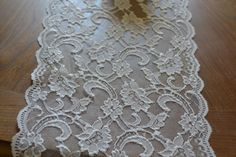 White Floral Lace Trim 9.25 wide Various Sizes 5 FT by LolaAndBea