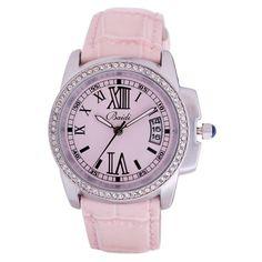 [$46.00] Retro Diamond Quartz Calendar Leather Teenage Watch - Free Shipping