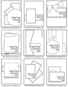 Paper Play Sketches - Sketch Templates - Ideas of Sketch Templates - Pause Dream Enjoy: Janis' Card Sketches Paper Bag Scrapbook, Baby Scrapbook, Scrapbook Cards, Scrapbook Journal, Fun Fold Cards, Folded Cards, Paper Cards, Mises En Page Design Graphique, Card Making Templates