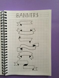 Bullet Journal Banners and Headers - Productive & Pretty Bullet Journal Headers, Bullet Journal Banner, Bullet Journal Notes, Bullet Journal 2019, Bullet Journal Ideas Pages, Bullet Journal Inspiration, Small Drawings, Easy Drawings, Cute Notes