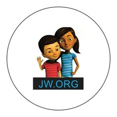 "Caleb & Sophia JW.org 1.5"" Round STICKERS Jehovah's Witnesses Kids Children"