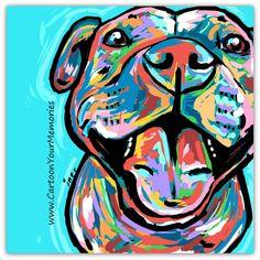 Pit Bull art print by CartoonYourMemories on Etsy