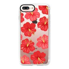 Hawaiian Hibiscus Red Flowers - iPhone 7 Plus Case And Cover ($40) ❤ liked on Polyvore featuring accessories, tech accessories, phone cases, phones, phone covers, tech, iphone case, apple iphone case, clear iphone case and iphone cases